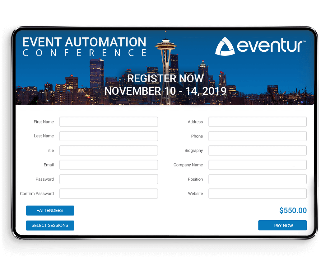 Registration and Virtual Event Hub allows attendees to sign up for events and access the Eventur Platform during a conference.