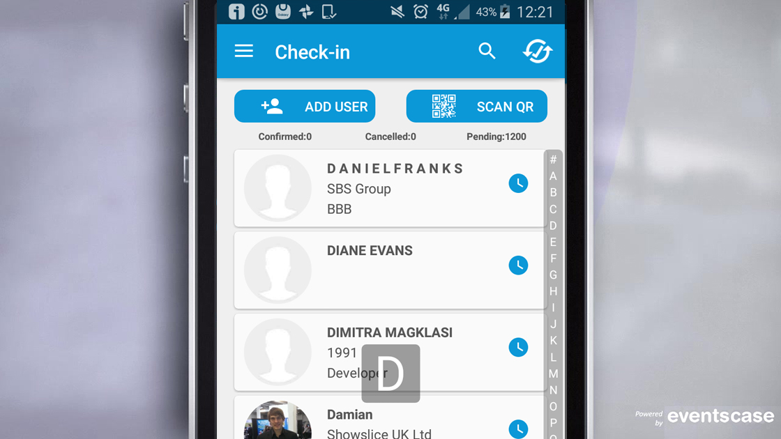 Native mobile apps can be used for on-site registration