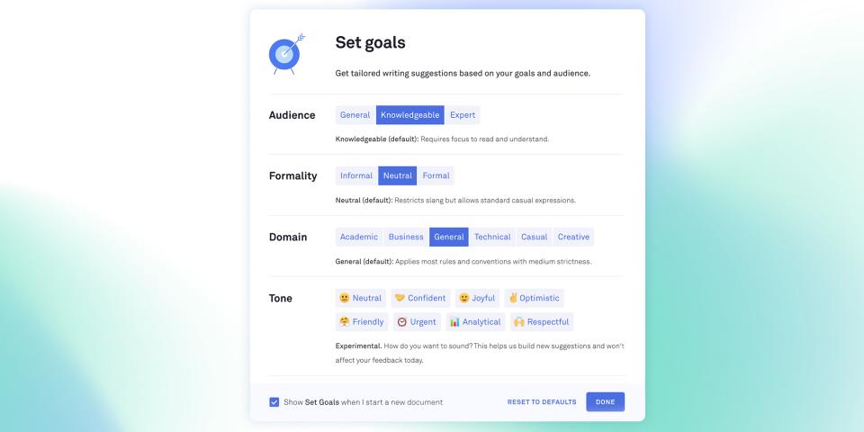 Set writing goals