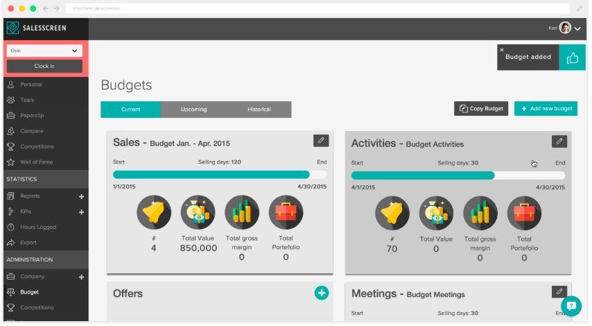 SalesScreen budget management