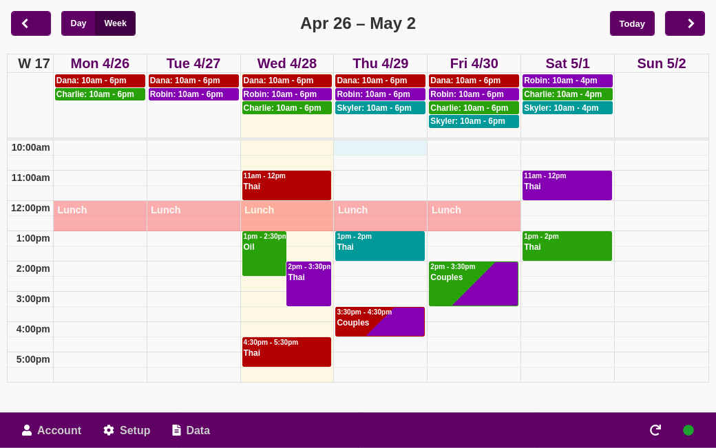 Example of the calendar view. Each staff member has their own color for a more comprehensible view. Easy access to staff shift management from the top row in the calendar.