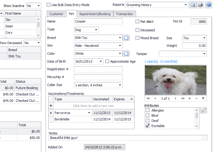 Pet records enable users to record each pet's vaccinations, temper, attributes, notes, and more