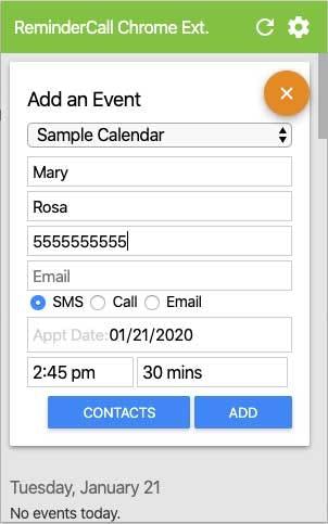 ReminderCall sample calendar
