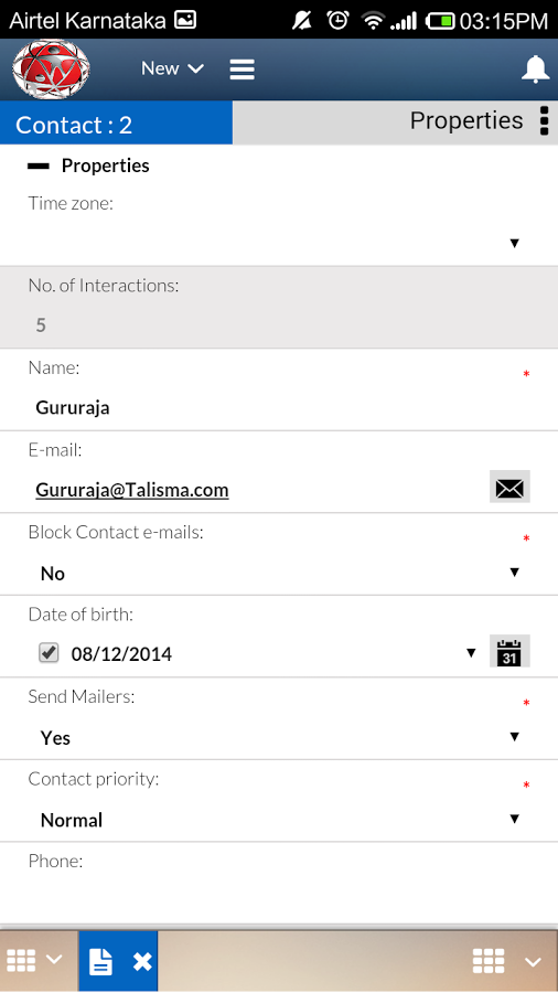 Talisma - Contact details on mobile