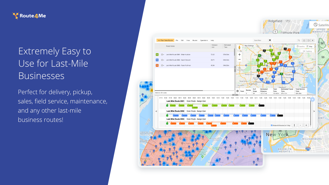Extremely Easy to Use for Last-Mile Businesses. Perfect for delivery, pickup, sales, field service, maintenance, and any other last-mile business routes!