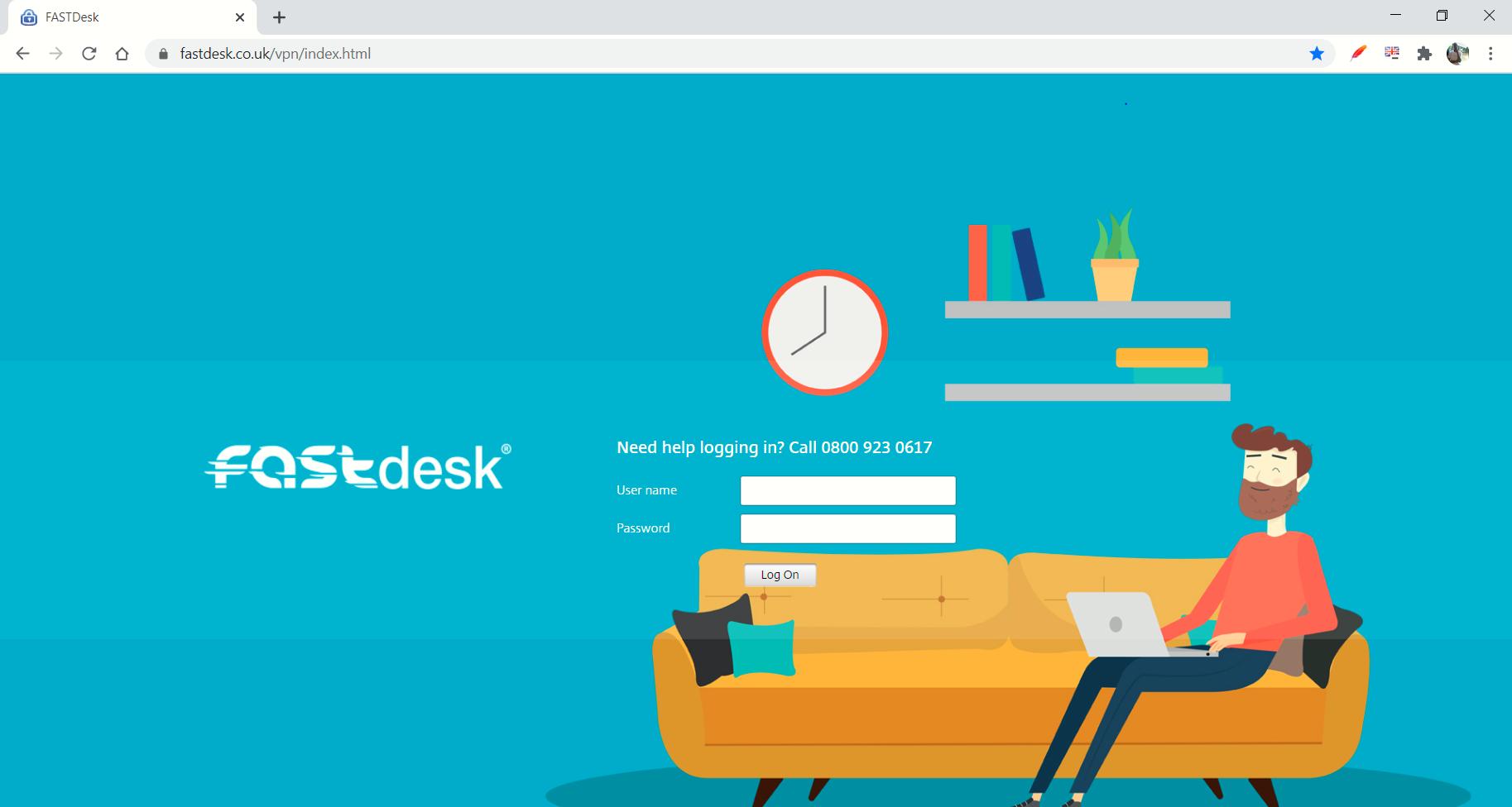 FastDesk custom login page
