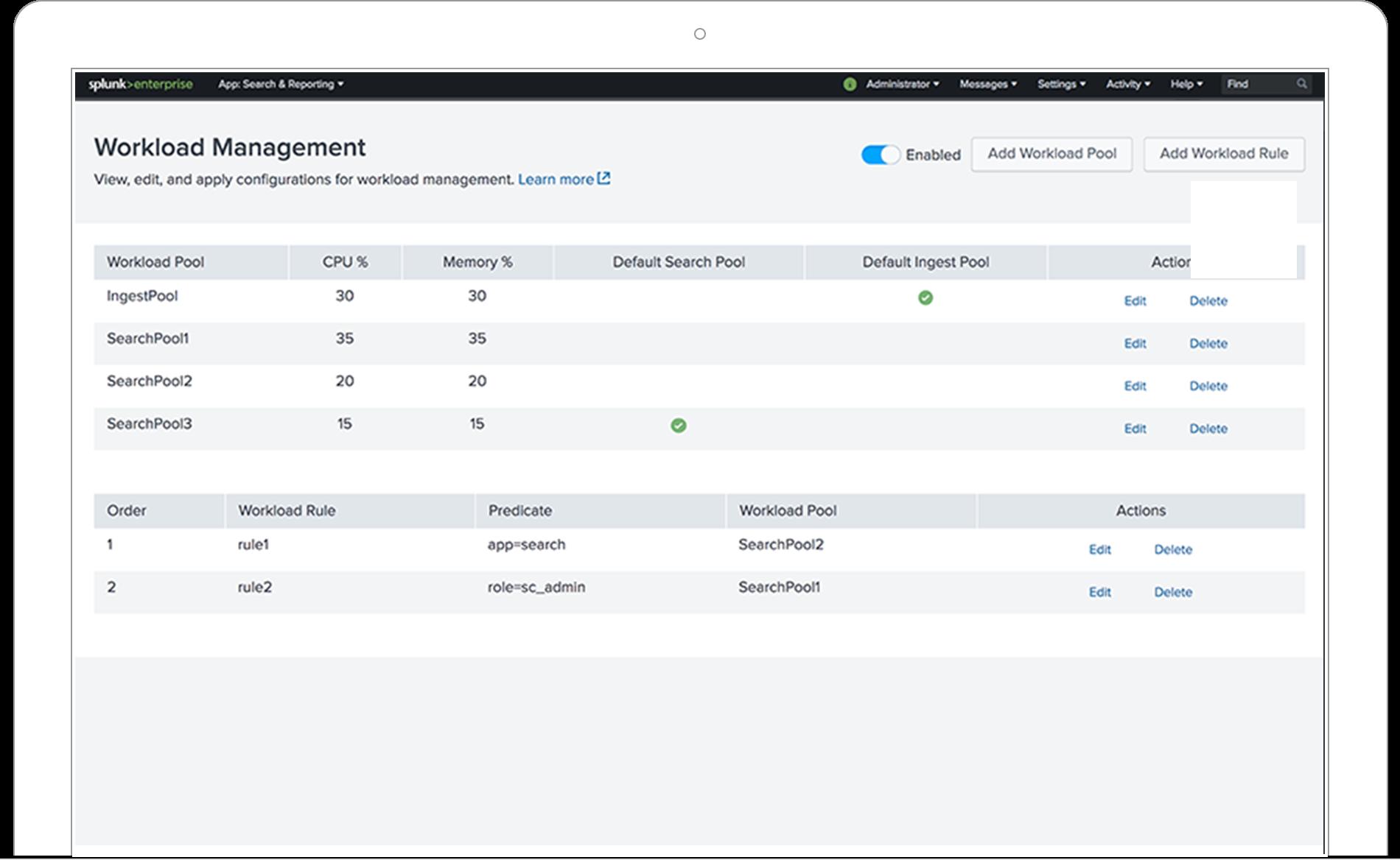 Splunk Enterprise workload management