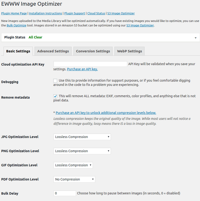 EWWW Image Optimizer manage API keys
