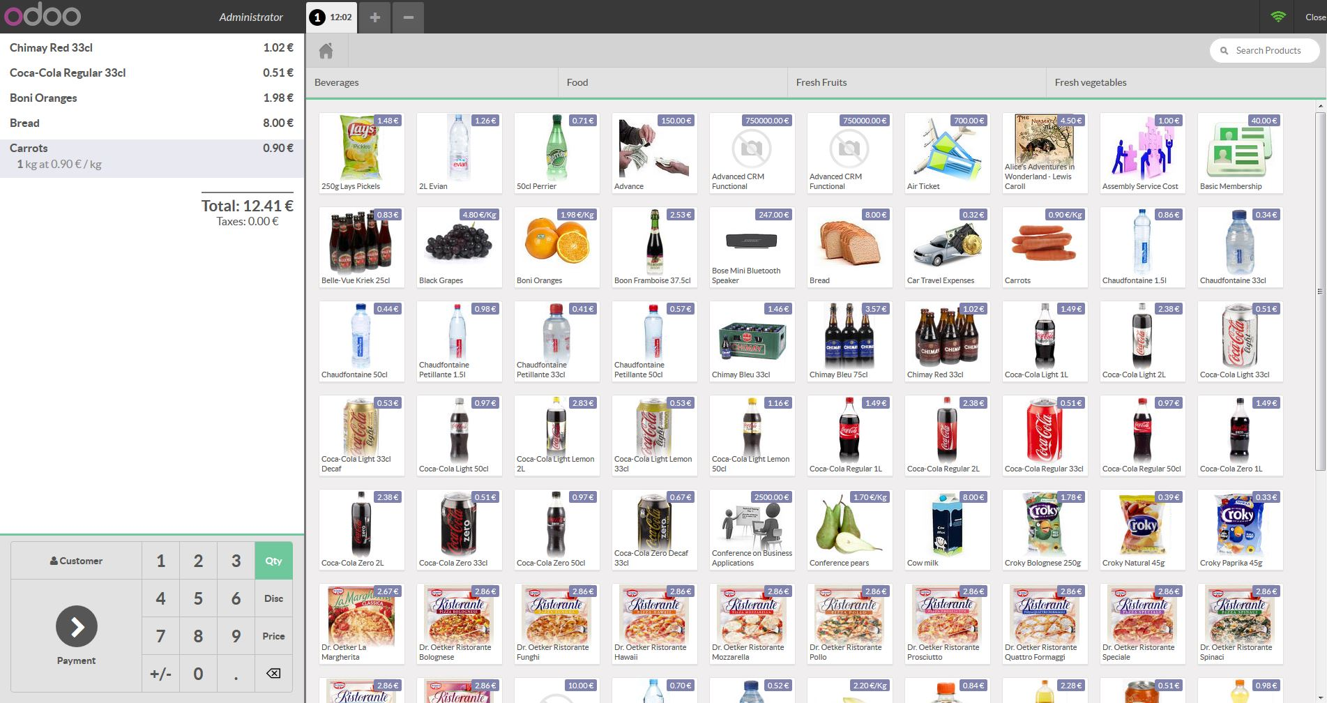 Odoo inventory shopping cart