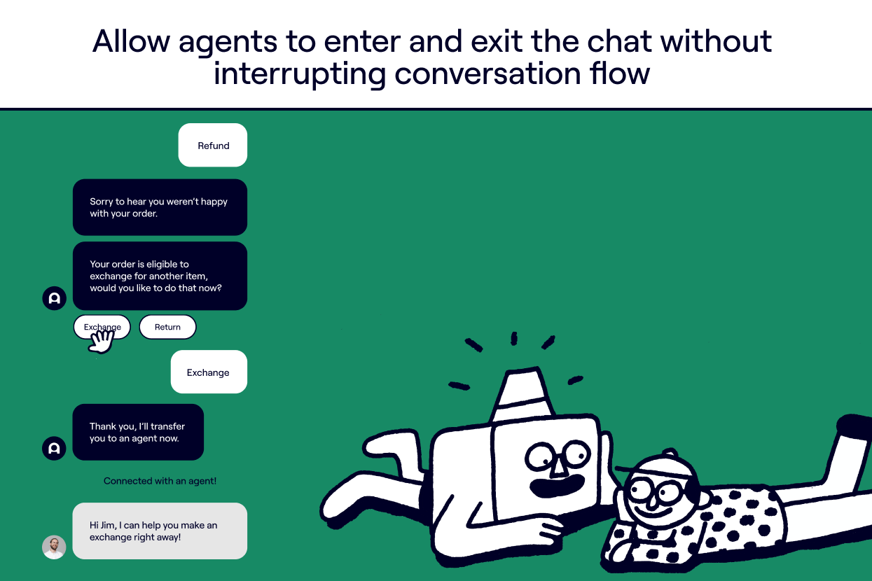 Allow agents to enter and exit the chat without interrupting conversation flow