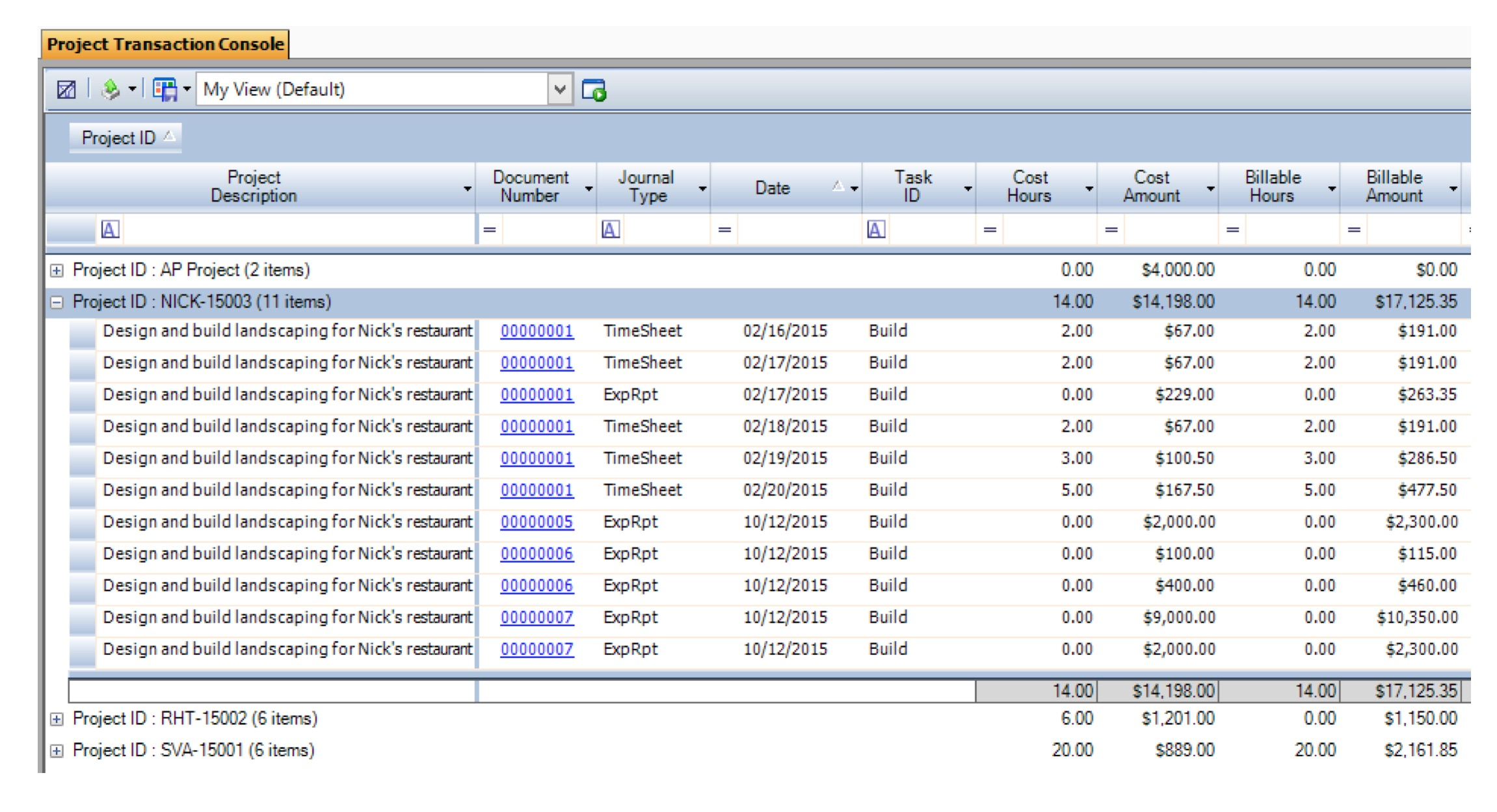 Project Transaction Console