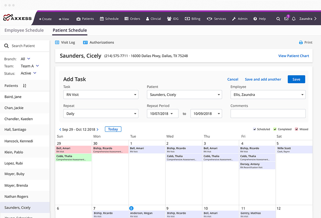 From the calendar, users can view their schedule in 7-day, 14-day, or monthly format