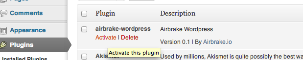 Airbrake can also be used with Wordpress