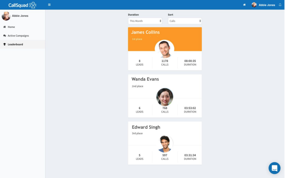 CallSquad leaderboard