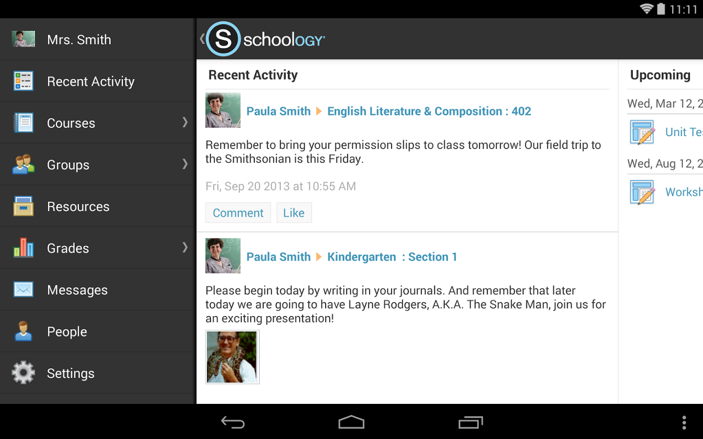 Schoology Software - Schoology android view