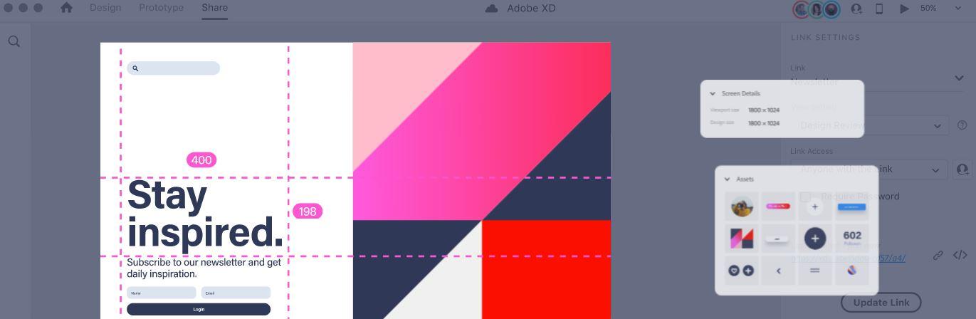 Adobe XD view screen details