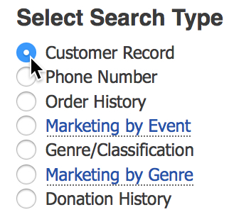 Customer Database - Search Options and Marketing Tools