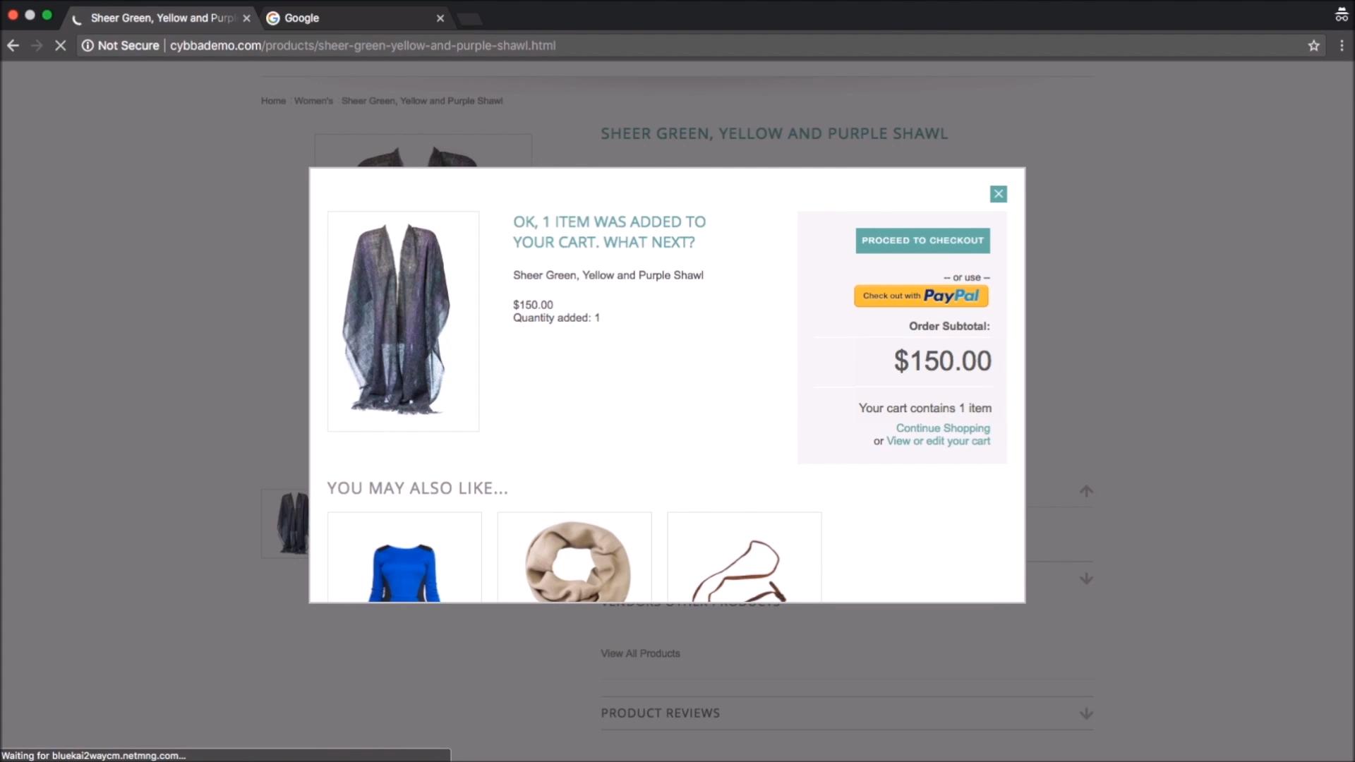 Cybba Email Remarketing shopping cart screenshot
