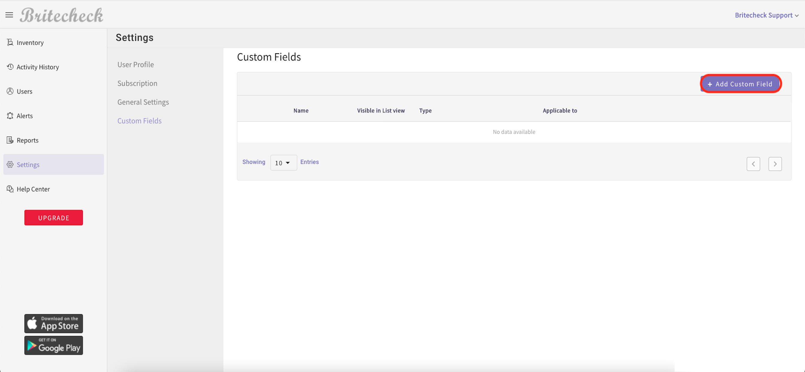 Britecheck add custom fields in settings