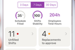Voila screenshot: The activity dashboard provides an overview of filled and unfilled shifts, pending approvals, and more