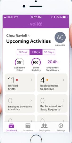 The activity dashboard provides an overview of filled and unfilled shifts, pending approvals, and more