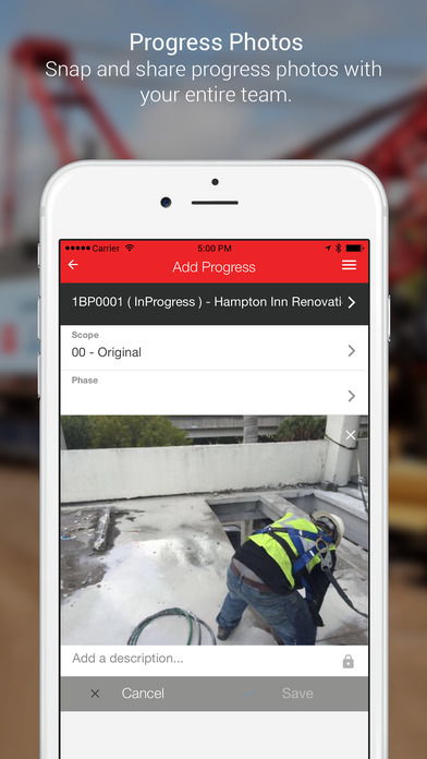 Upload photos directly into RedTeam from a mobile phone when working on site