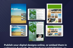 Lucidpress screenshot: Publish your digital designs online, or embed the in webpages & emails. Download your print designs, or order prints directly from Lucidpress.