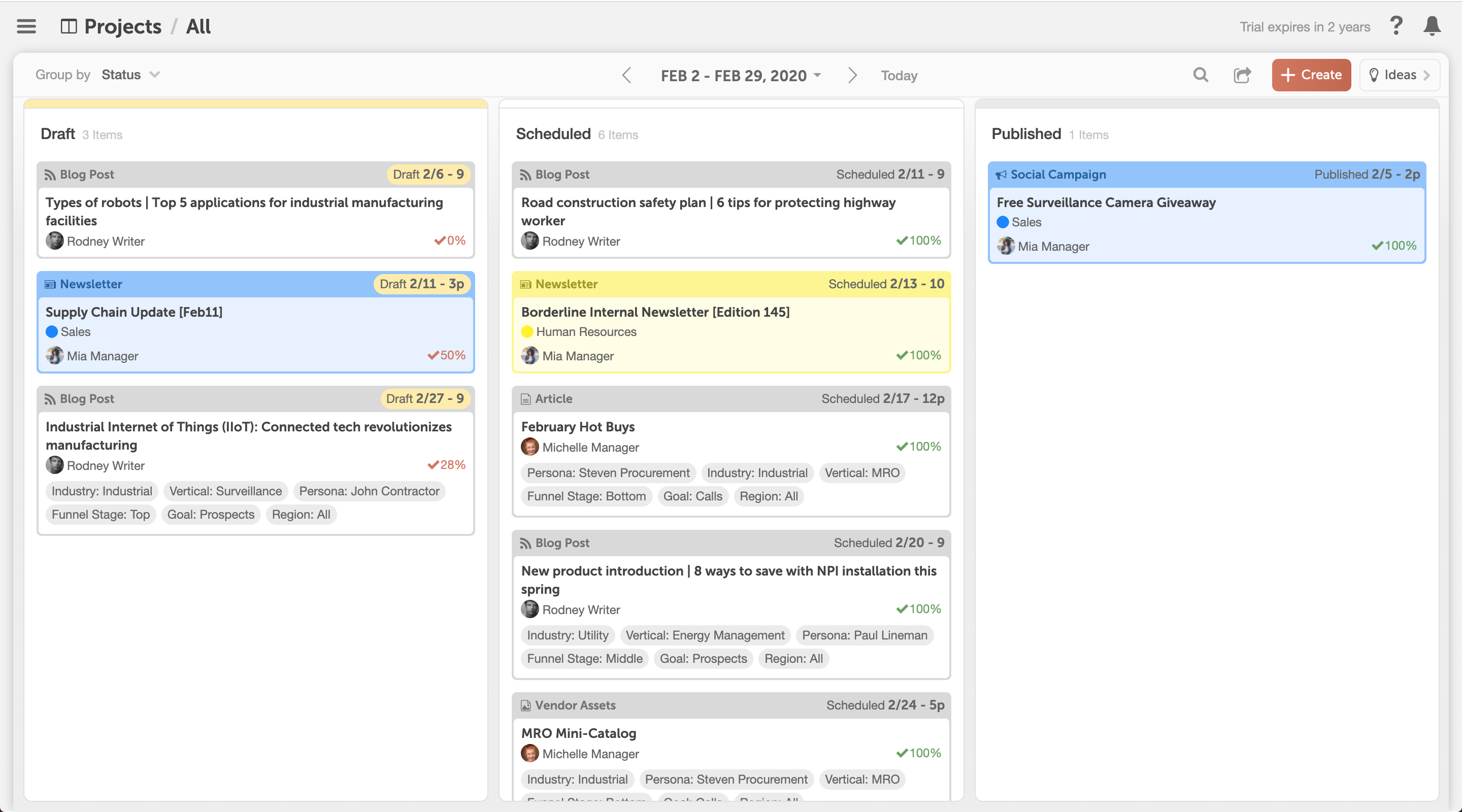 Keep a pulse on every project. Visualize your active projects in a Kanban board. Define statuses to describe the unique stages of your team's workflows. Review the state of your projects in real-time to identify roadblocks & monitor team progress.