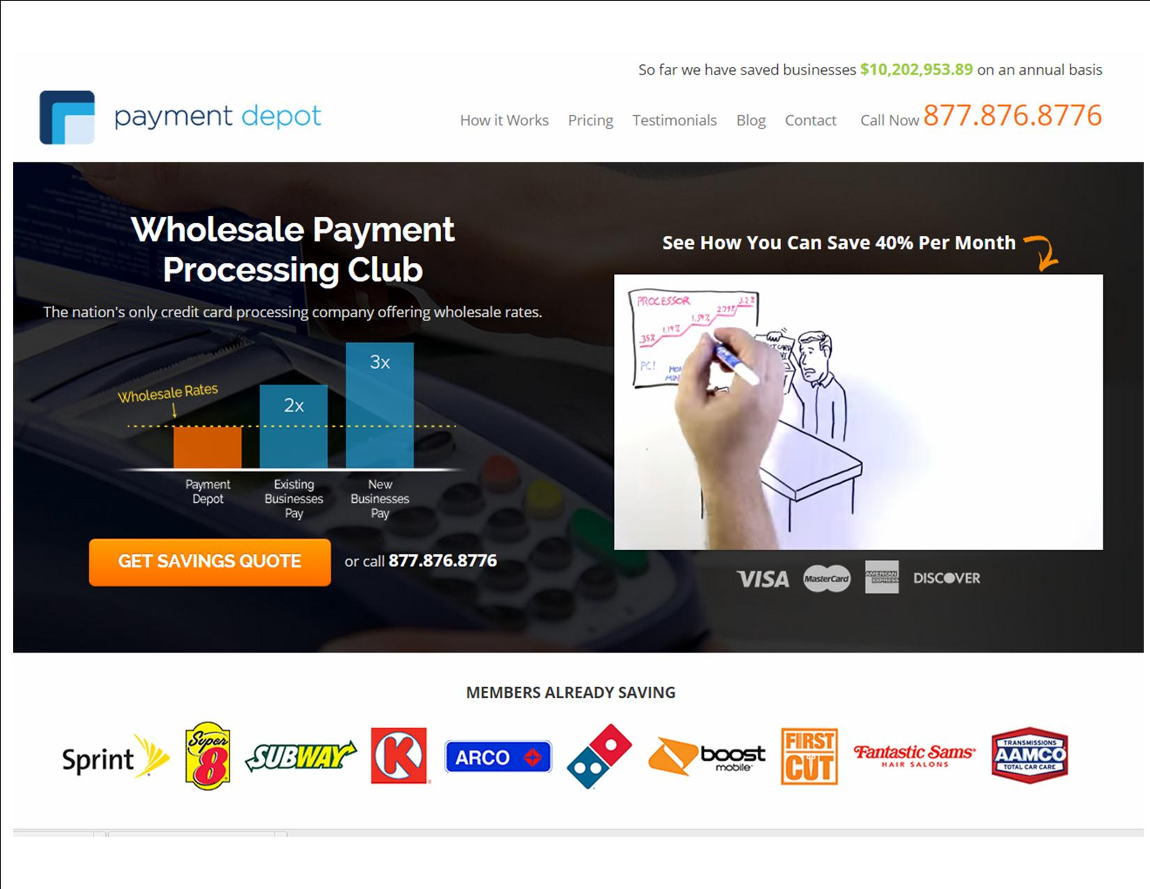 screen shot payment depot