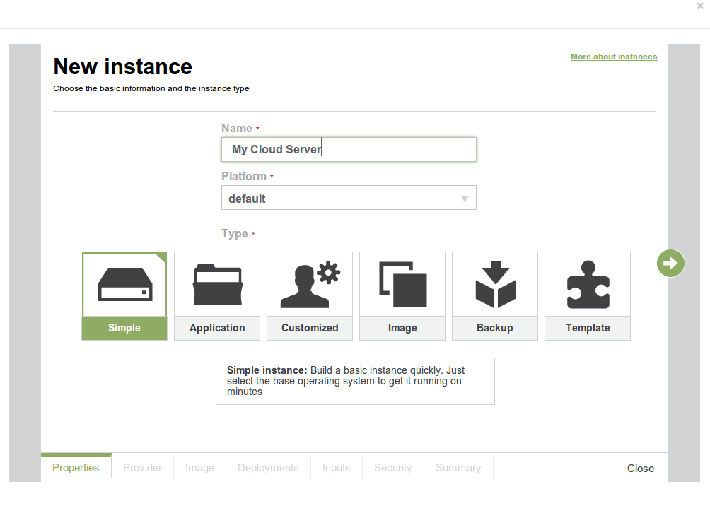 Create new instances with ECmanaged