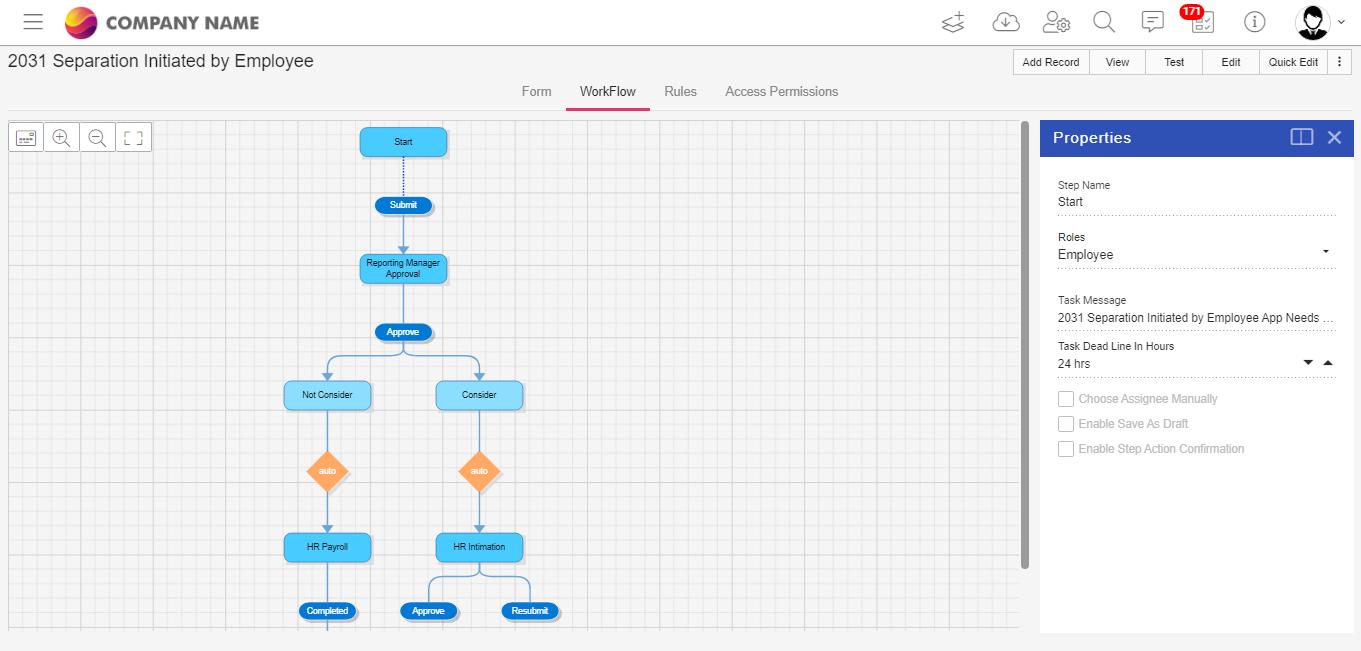 Quixy Workflow Builder