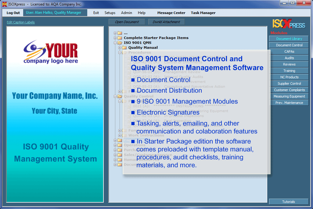IMSXpress ISO 9001 Quality Management screenshot: IMSXpress ISO 9001 modules include audits, reviews, training, customer complaints, CAPAs and more.