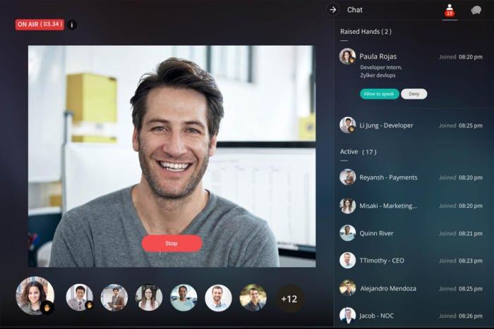 Zoho Cliq Software - Zoho Cliq team video chat