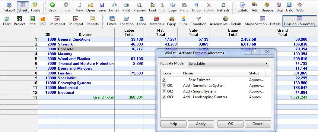 WinEst Software - Estimate summary with alternates