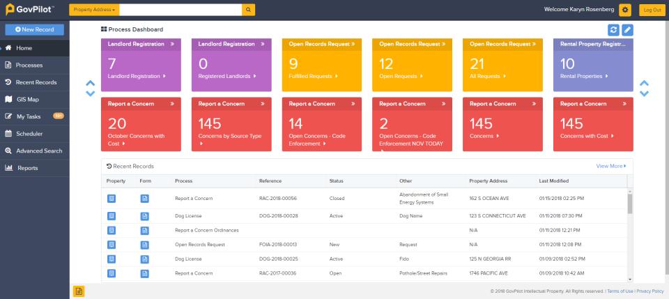 GovPilot screenshot: GovPilot dashboard screenshot