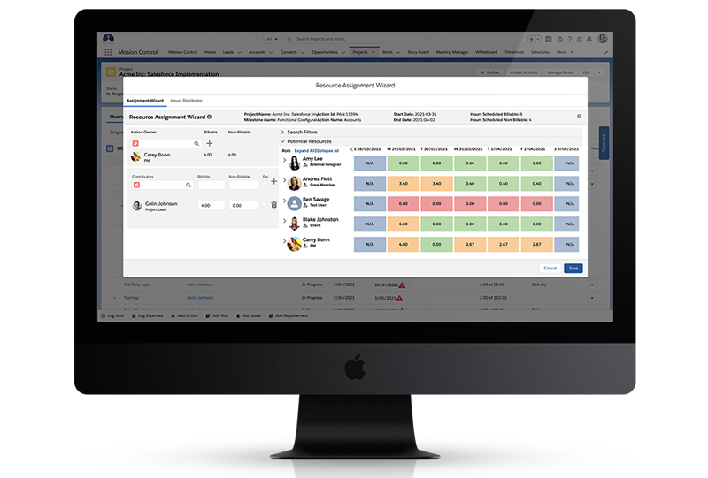 Mission Control Software - A unique feature that allows you to easily add Contributors when creating your Actions so that you can manage the resourcing amongst the team.