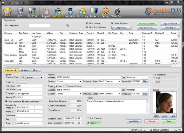 AmberPOS Software - Customer management