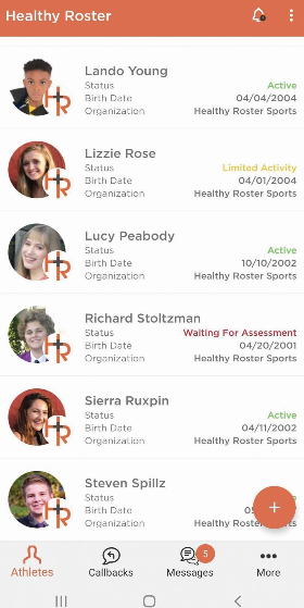 Healthy Roster tracking athletes