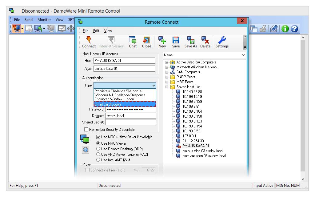 DameWare remote connect