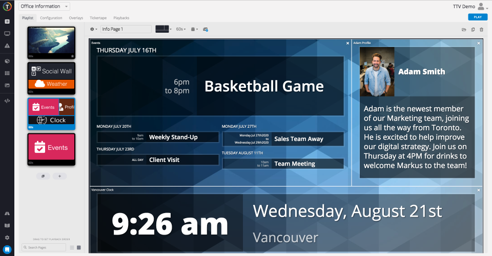 TelemetryTV playlist zone screenshot