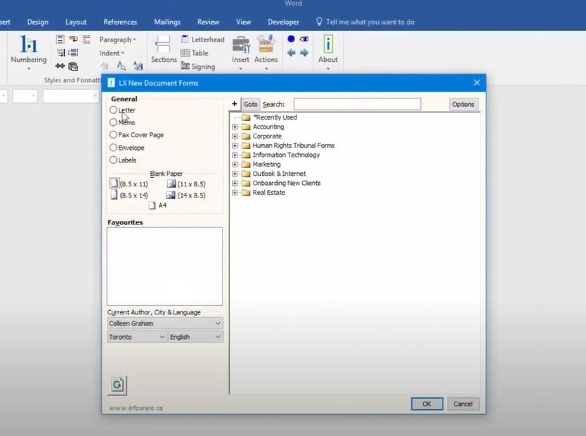 Word LX document forms