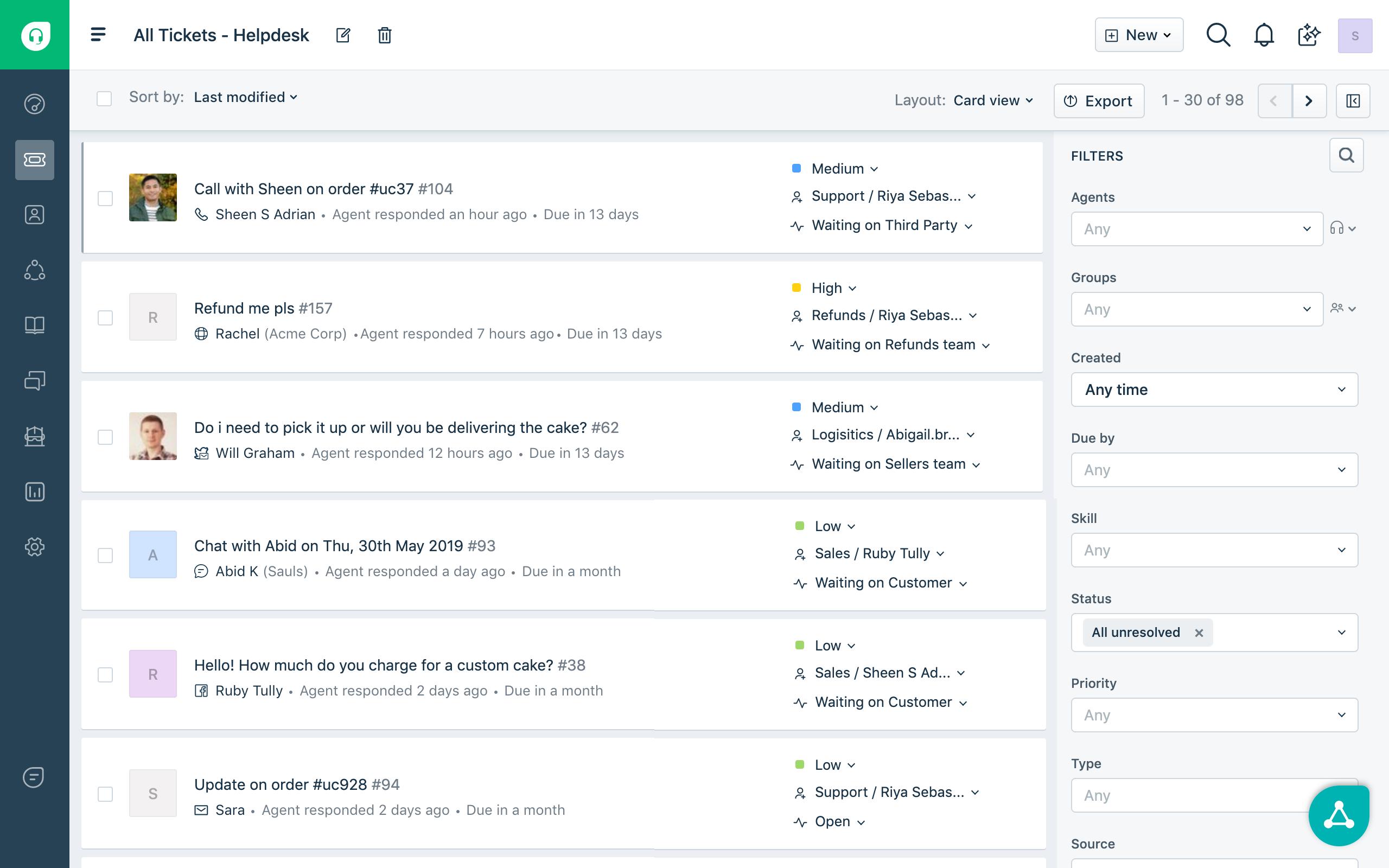 Freshdesk screenshot: Customer conversations from across channels