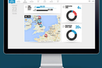 BigChange screenshot: JobWatch back-office provides a main dashboard with fleet tracking map and data widgets for completed jobs and resources currently with jobs