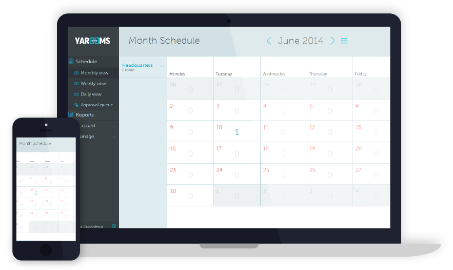 The calendar tool provides an overview of availability of rooms by month