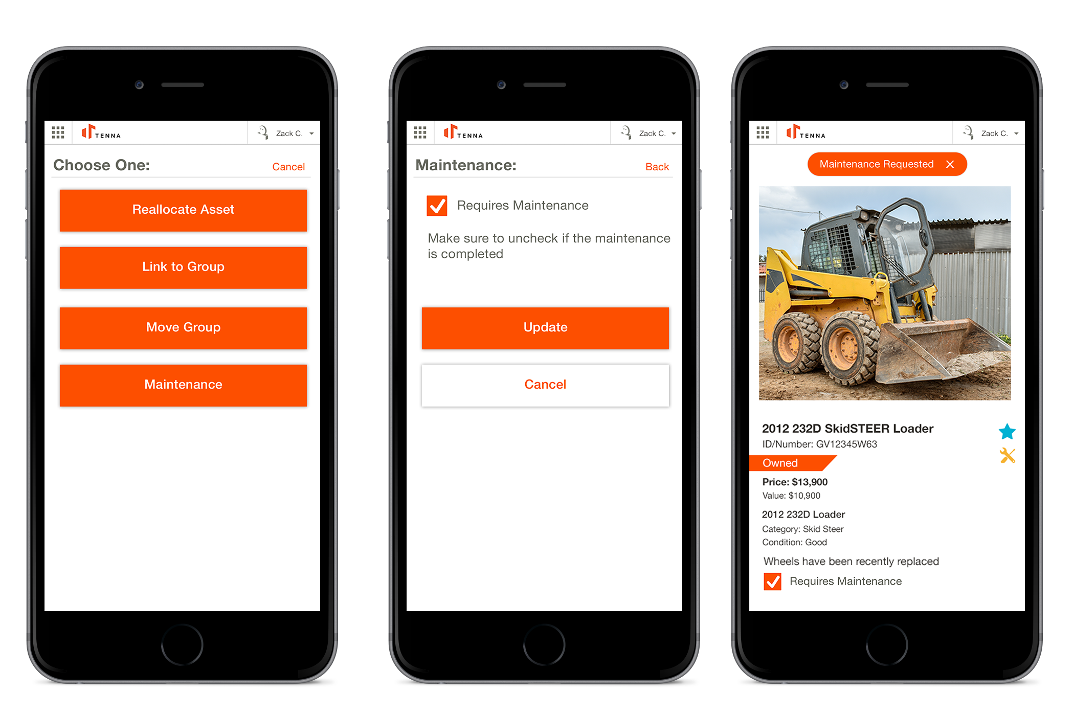 Mobile app showing how field users can request maintenance.