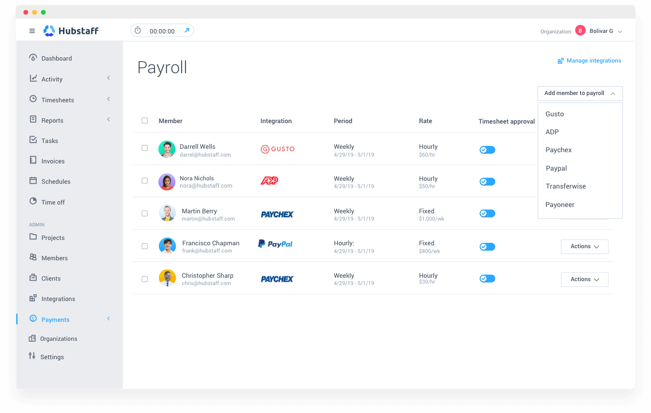 Hubstaff payroll management screenshot