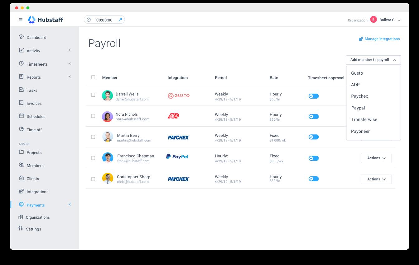 Hubstaff payroll management screenshot