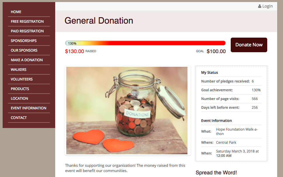 General donations to the overall event total are also supported
