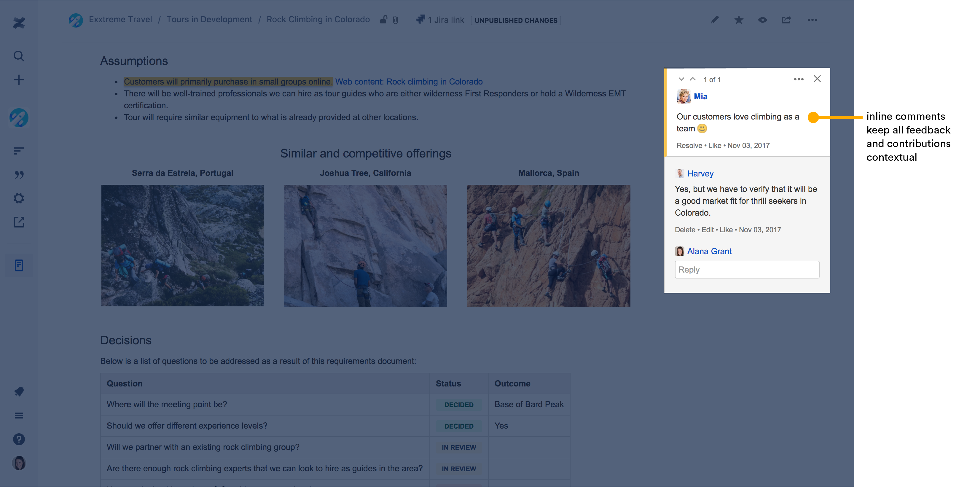Confluence Software - Use in-line comments to provide contextual feedback on projects and pages