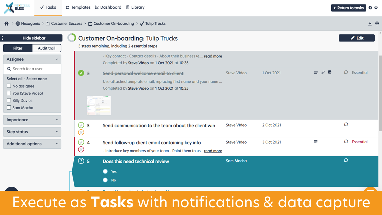 Process Bliss Software - Execute as 'Tasks' with notifications and data capture, clear owners and due dates for every step in a Task
